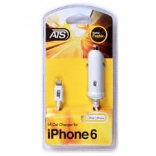 ATS 1A iPhone SE/6/6S/6 Plus Автомобильное зарядное устройство (MFI) со встроенным Lightning кабелем