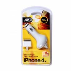 ATS 1A iPhone 4/4S Автомобильное зарядное устройство со встроенным 1.5М Lightning кабелем