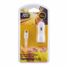 ATS 2.1A Двойное USB автомобильное зарядное устройство со съемным 1.5M Micro USB кабель