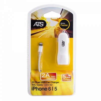 ATS 2A Двойное USB автомобильное зарядное устройство для iPhone 6 со съемным 1.5M Lightning to USB кабелем