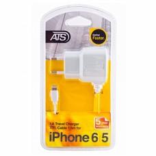 ATS 1A iPhone 6 Сетевое зарядное устройство со встроенным 1.5M Lightning кабелем