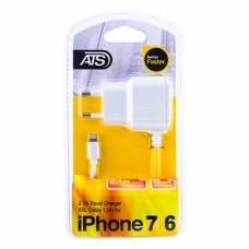 ATS 2.1A iPhone 6 Сетевое зарядное устройство со встроенным 1.5M Lightning кабелем