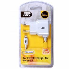 ATS 1A iPhone 6 (MFI) Сетевое зарядное устройство со встроенным 1.5M Lightning кабелем