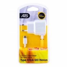 ATS 2.1A Type-C Сетевое зарядное устройство со встроенным 1.5M кабелем